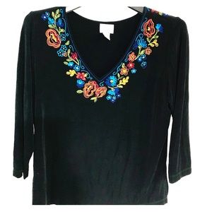 Chico's Travelers-Black Embroidered Blouse